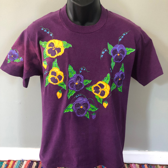 Vintage Other - 80s Pansy Flower Shirt Hand Made Graphic Art